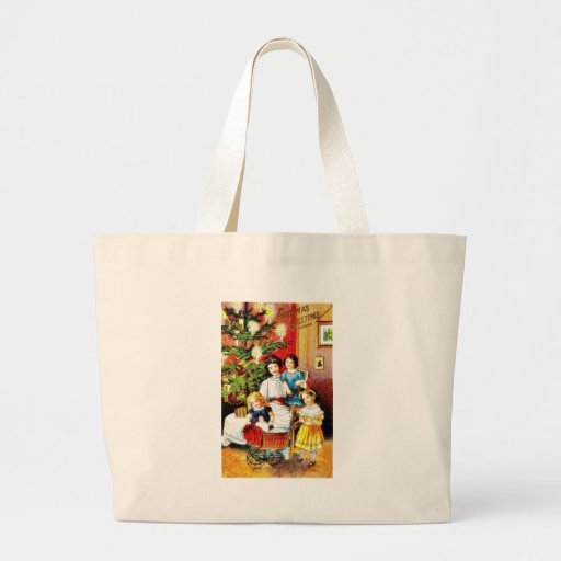 A christmas greeting with the mother around her ch canvas bag