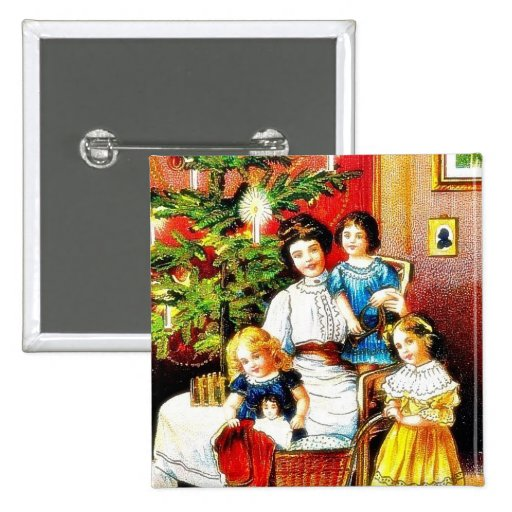 A christmas greeting with the mother around her ch pinback buttons