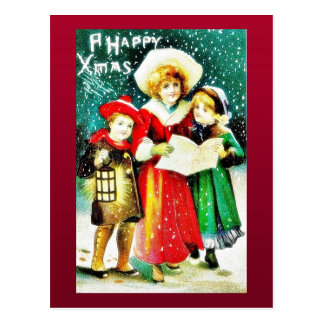 A christmas greeting with three kids, two singing post cards