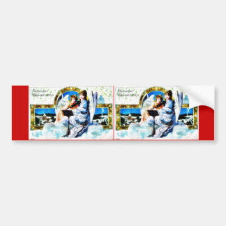 A Christmas greeting with two angels reading bible Bumper Stickers
