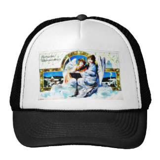 A Christmas greeting with two angels reading bible Trucker Hats