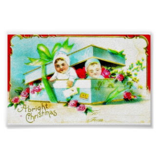 A christmas greeting with two kids in the box with posters
