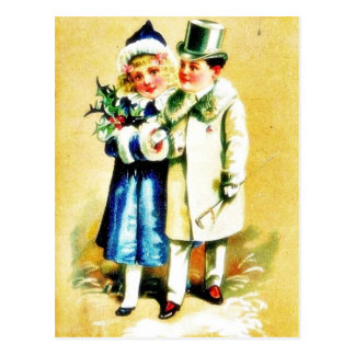 A Christmas greeting with young couples walking by Postcard