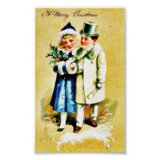 A Christmas greeting with young couples walking by Poster