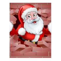 A Christmas illustration of Santa breaking through Postcard