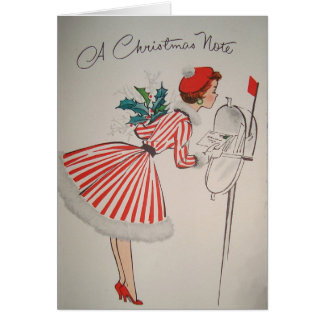 A Christmas Note Vintage Retro Greeting Card