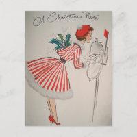 A Christmas Note Vintage Retro Postcard