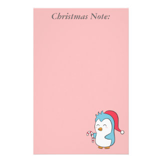 A Christmas note with cute penguin and candy cane Stationery