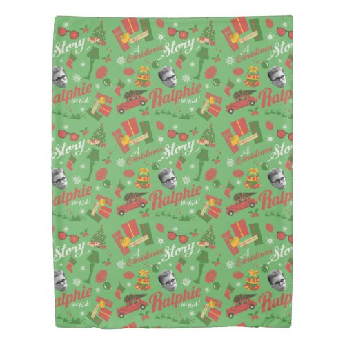 A Christmas Story Green Icon Pattern Duvet Cover