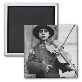 A Christmas street fiddler, Belgrade_War Image 2 Inch Square Magnet