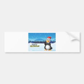 A christmas template with a penguin bumper sticker
