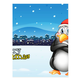 A christmas template with a penguin postcard