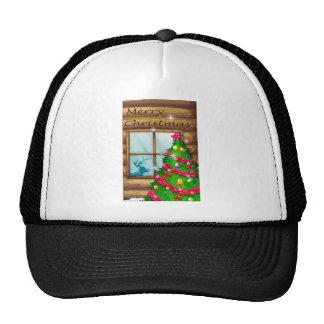 A christmas tree near the window trucker hat