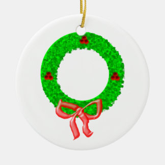 A Christmas Wreath with Berries and a Bow Ceramic Ornament