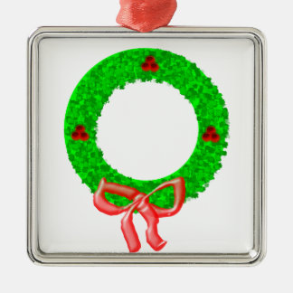 A Christmas Wreath with Berries and a Bow Metal Ornament