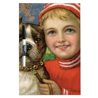 A chubby boy and a dog posing dry erase board