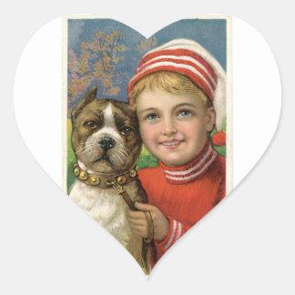 A chubby boy and a dog posing heart sticker
