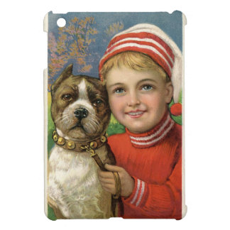 A chubby boy and a dog posing iPad mini cover