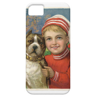 A chubby boy and a dog posing iPhone SE/5/5s case