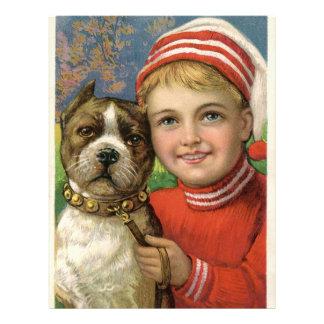 A chubby boy and a dog posing letterhead