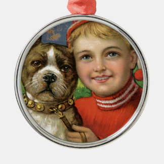 A chubby boy and a dog posing metal ornament