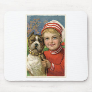 A chubby boy and a dog posing mouse pad