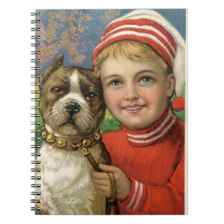 A chubby boy and a dog posing spiral notebook