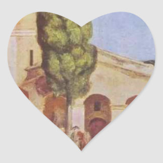 A Church at Cagnes by Pierre-Auguste Renoir Heart Sticker