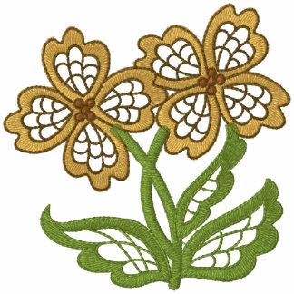 A cielo abierto floral sudadera bordada con cremallera de mujer