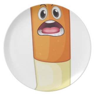 a cigarette with face party plate