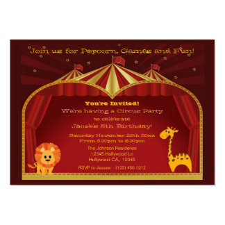 A Circus Birthday Party Invitations Large Business Card