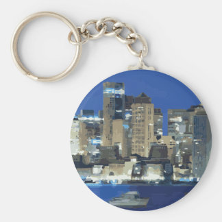 A City of Sparkling Lights over the Bay Keychains