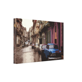 A City Street in Old Town Canvas in Simple Design
