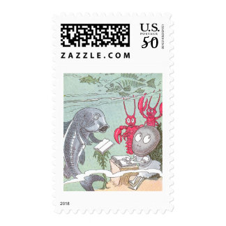 A Clam at School with Fish & Lobsters Postage