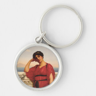 A Classical Lady Painting Silver-Colored Round Keychain