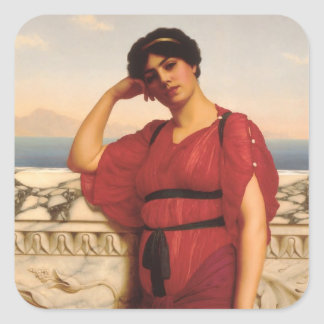 A Classical Lady Painting Square Sticker