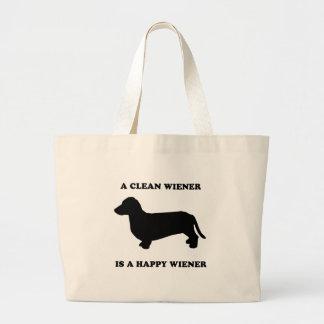 A clean wiener is a happy wiener jumbo tote bag