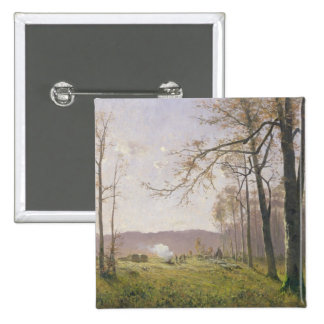A Clearing in an Autumnal Wood, 1890 2 Inch Square Button
