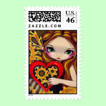 'A Clockwork Valentine' Stamp - A cute little fairy girl with brass wings - clutching a clockwork heart. Lots of little steampunk-y details, too. So cute! Getting in the mood for Valentine's Day - this piece could make a wonderful gift for your own valentine! Original acrylic painting by Jasmine Becket-Griffith.