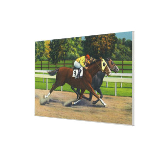 A Close Finish at the Race Track, Horses Canvas Print