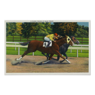 A Close Finish at the Race Track, Horses Poster