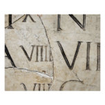 A close-up of ancient Roman letters on marble. Poster