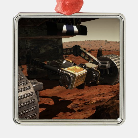 A close-up view of the arm on NASA's Mars Metal Ornament