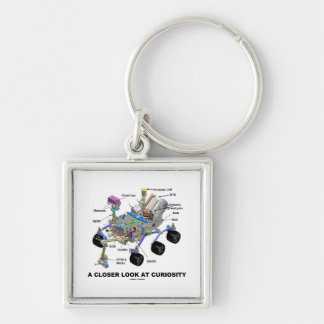 A Closer Look At Curiosity (NASA Martian Rover) Silver-Colored Square Keychain