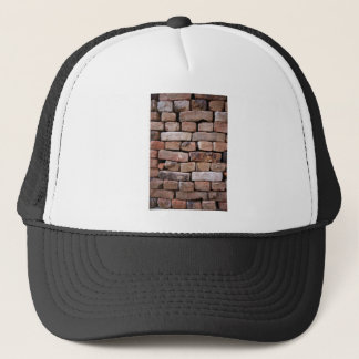 A closer look to a brick wall trucker hat