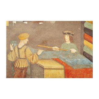 A Cloth Merchant Measuring Cloth Canvas Print