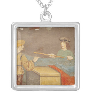 A Cloth Merchant Measuring Cloth Silver Plated Necklace