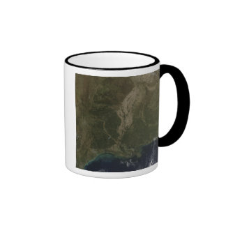 A cloud-free view of the southern United States Ringer Coffee Mug