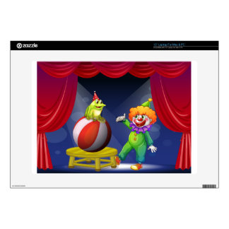 """A clown and a frog performing on stage decal for 15"""" laptop"""