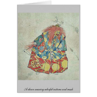 A clown wearing colorful costume and mask stationery note card